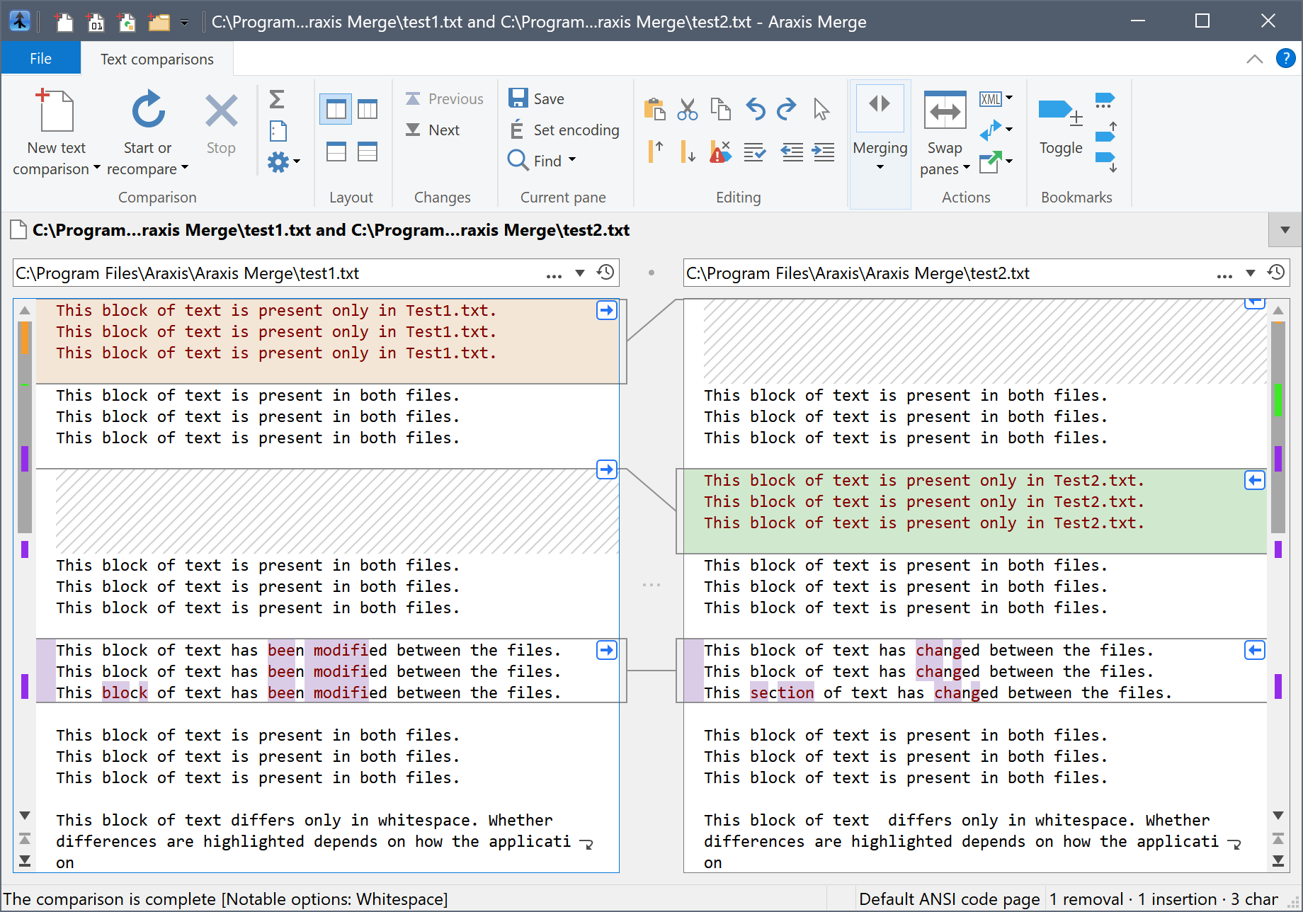 Comparing Text Files (or Typed/Pasted Text)
